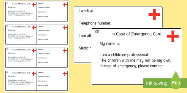 Teacher In Case of Emergency Information Cards - Information Cards, ICE, in case of emergency, out and about, independence