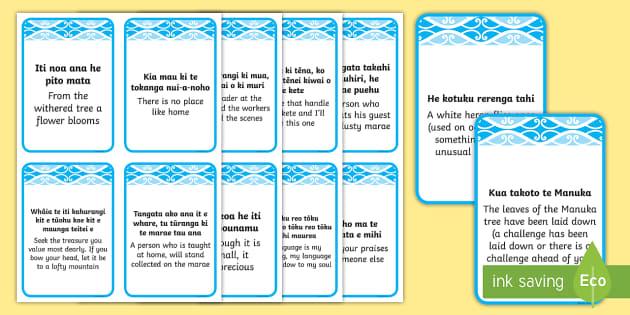Te Reo Māori whakatauki Flashcards Te Reo Maori/English - Māori Phrase Book, proverb, whakatauki