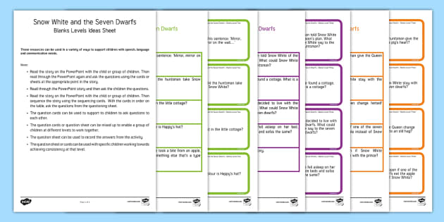 Snow White and the Seven Dwarfs with Blanks Levels Question Cards - Blanks levels, Language for Thinking, verbal reasoning, autism, receptive language