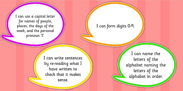 2014 Curriculum Year 1 English Writing Assessment I Can Bubbles