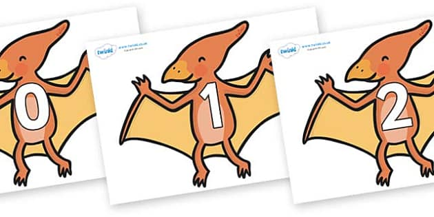Numbers 0-31 on Pterodactyl Dinosaurs - 0-31, foundation stage numeracy, Number recognition, Number flashcards, counting, number frieze, Display numbers, number posters