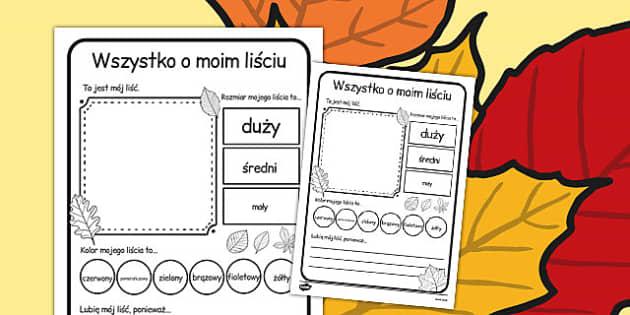 Cwiczenie na pisanie Wszystko o moim lisciu po polsku - szkola , Polish