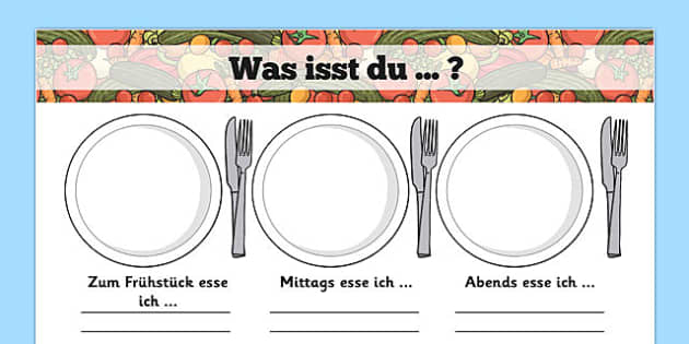 Was isst du ... ? Meal Time Writing Templates German - german, meal time, writing frame, template, Lunchtime, dinner, breakfast, tea