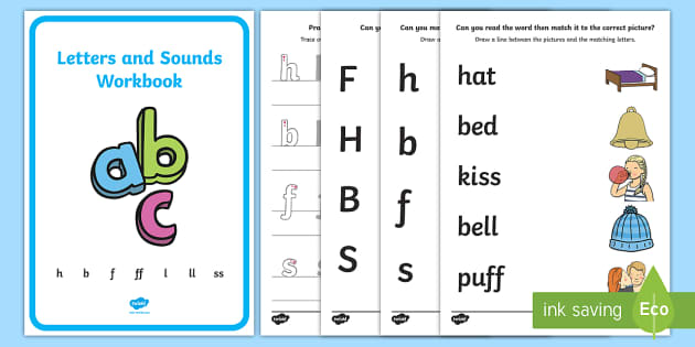 Letters and Sounds Workbook (h, b, f, ff, l, ll, ss) - Letters and Sounds, handwriting, letter formation, workbook, writing practice, foundation, uppercase, letters, writing, learning to write, DFES
