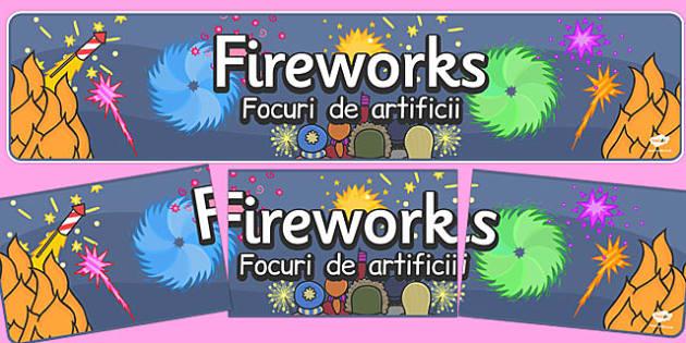 Bonfire Night Banners Fireworks Romanian Translation - romanian