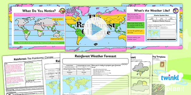 PlanIt - Geography Year 3 - Rainforests Lesson 2: The Rainforest Climate Lesson Pack - geography, rainforest, tropical, jungle, biome, climate