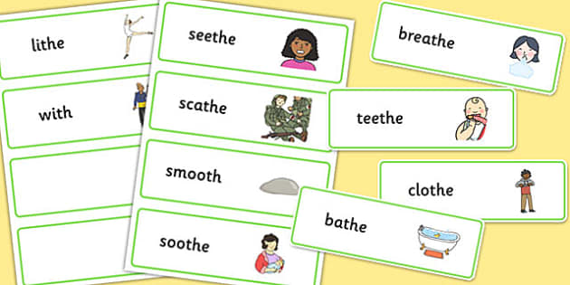 Final Voiced 'th' Sound Word Cards - final th, sound, word cards