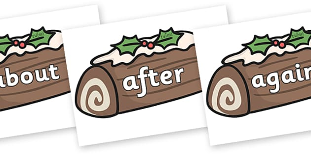 KS1 Keywords on Christmas Logs - KS1, CLL, Communication language and literacy, Display, Key words, high frequency words, foundation stage literacy, DfES Letters and Sounds, Letters and Sounds, spelling