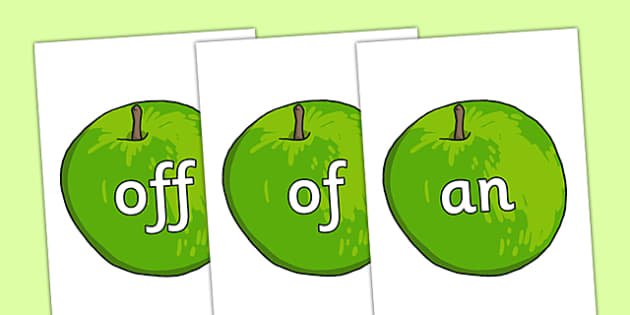 Phase 2 High Frequency Words on Apples - phase 2, high frequency words, apples, high frequency