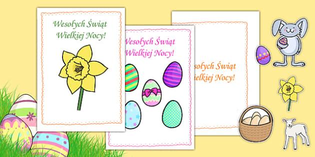 Kartki świąteczne na Wielkanoc po polsku - plastyka, kolorowanie