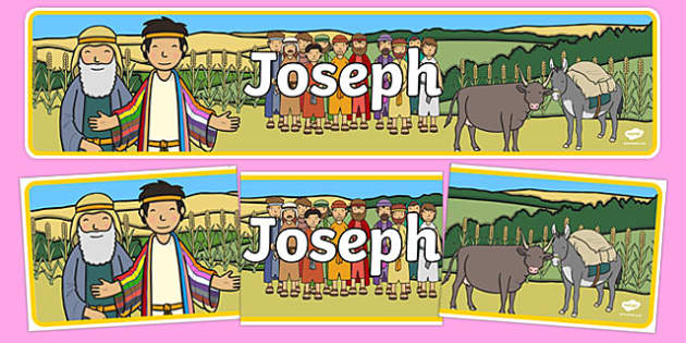 Joseph Display Banner - Joseph, coat, Jacob, bible story, bible, slave, display, banner, poster, sign, brothers, cupbearer, pharao, prison, cows, corn, dreams, Palace, Egypt, fat, thin