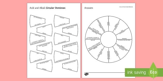 Acids and Alkalis Circular Dominoes - Tarsia, Dominoes, Acids, Alkalis, Neutral, pH, Bases, Neutralisation
