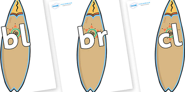 Initial Letter Blends on Surf Boards - Initial Letters, initial letter, letter blend, letter blends, consonant, consonants, digraph, trigraph, literacy, alphabet, letters, foundation stage literacy