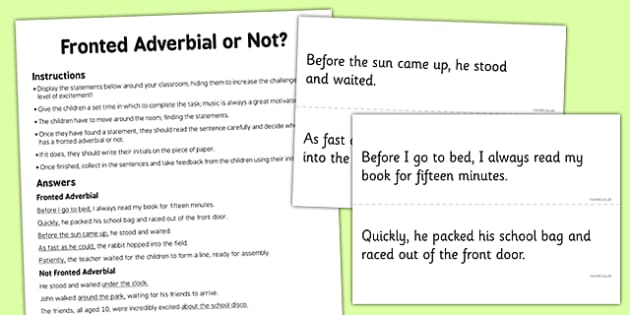 Fronted Adverbial or Not Activity - fronted adverbial, not, activity, fronted, adverbial