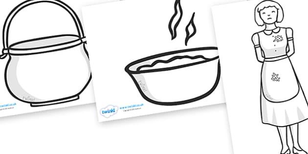 The Magic Porridge Pot Colouring Sheets - magic, porridge, pot, little girl, lady, magic pot,colouring, fine motor skills, poster, worksheet, vines, A4, display,  cook, magic words