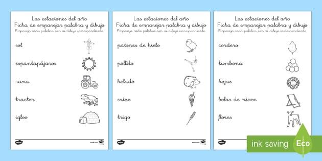 as estaciones del año Ficha de emparejar palabra con dibujo - El tiempo y las estaciones del año, proyecto, decoración de la clase, vocabulario, primavera, vera