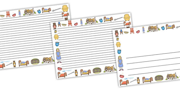 Goldilocks and the Three Bears Full Page Borders (Landscape) - page border, border, frame, writing frame, goldilocks and the three bears, goldilocks writing frames, goldilocks page borders, writing template, writing aid, writing, A4 page, page edge,