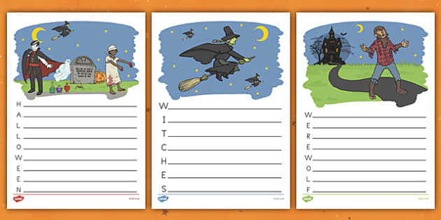 Halloween Acrostic Poems - Spooky, October, poetry, words, activity, filler, worksheet, sheet
