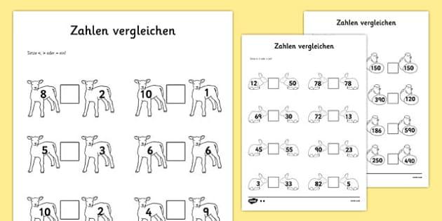 Zahlen vergleichen Spring Number Comparison Activity Sheet German - german, spring, number comparison, worksheet, number, comparison
