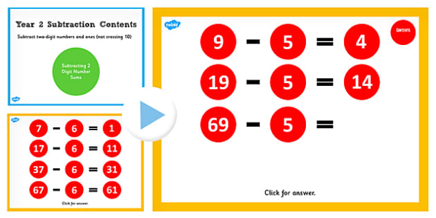 Year 2 Subtracting Digit Numbers and Ones Not Crossing 10 Number