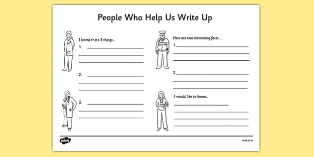People Who Help Us Write Up Work Sheet - writing template, write