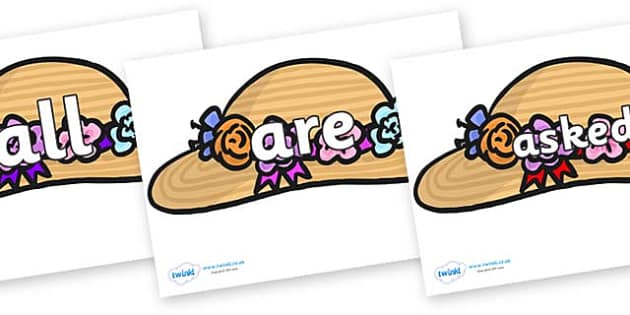 Tricky Words on Bonnets - Tricky words, DfES Letters and Sounds, Letters and sounds, display, words