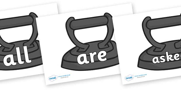 Tricky Words on Irons - Tricky words, DfES Letters and Sounds, Letters and sounds, display, words