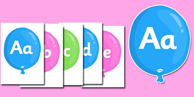 A-Z Alphabet on Balloons  - Alphabet frieze, Letter posters, Display letters, A-Z letters, Alphabet flashcards, alpahbet