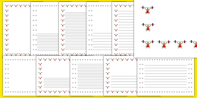 The Olympics Weightlifting Page Borders - weightlifting, lifting, weights, Olympics, Olympic Games, sports, Olympic, page border, border, writing template, writing aid, writing, London, 2012, activity, Olympic torch, medal, Olympic Rings, mascots, fl