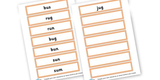 CVC u Word Cards - CVC Words Primary Resources, CVC, consonant, vowel, CVC word