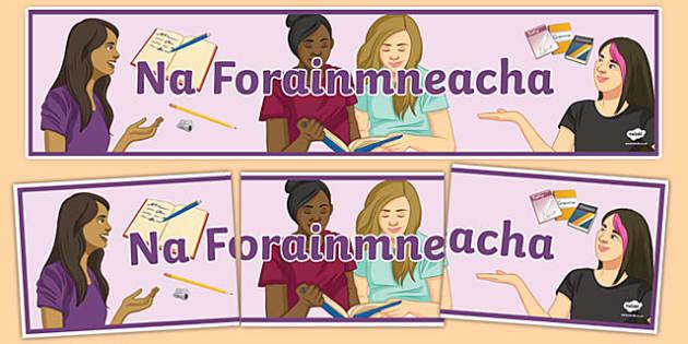 Forainmneacha Display Banner-Irish