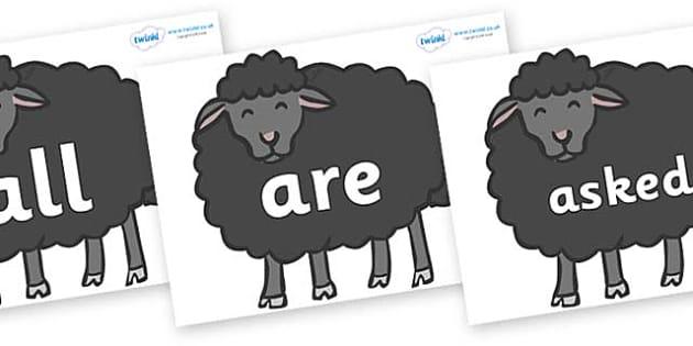 Tricky Words on Baa Baa Black Sheep - Tricky words, DfES Letters and Sounds, Letters and sounds, display, words
