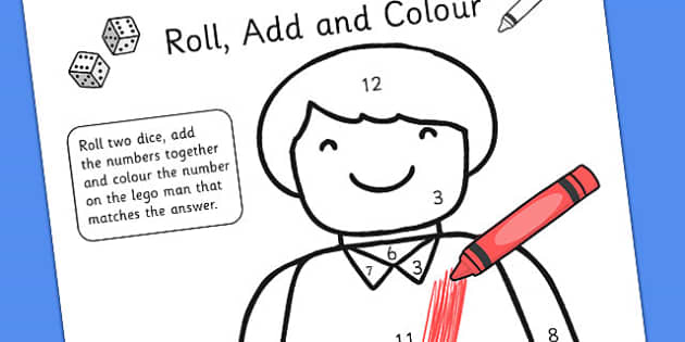 Toy Man Roll Addition Colour Activity - add, adding, numeracy