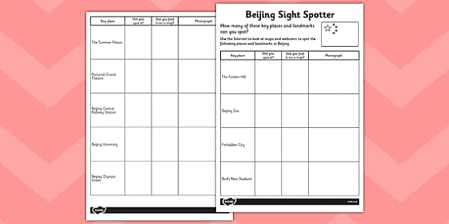 Beijing Sight Spotter Activity Sheet - beijing, sight, spotter, activity, worksheet