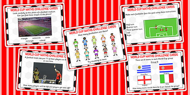 Word Cup Maths Challenge Cards KS1 - numeracy, football, sport