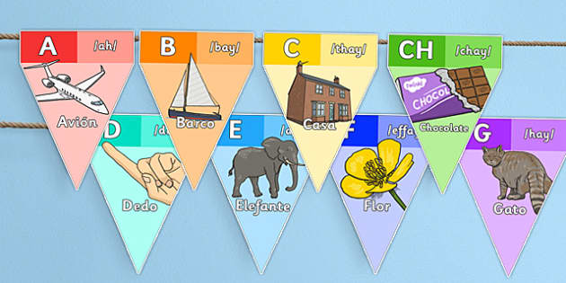 Spanish Alphabet Bunting - spanish, alphabet, bunting, display, letters