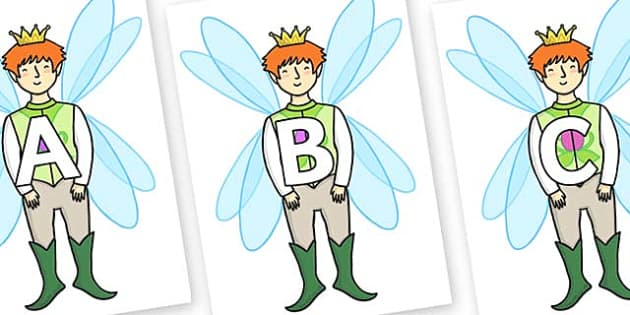 A-Z Alphabet on Fairy Prince - A-Z, A4, display, Alphabet frieze, Display letters, Letter posters, A-Z letters, Alphabet flashcards