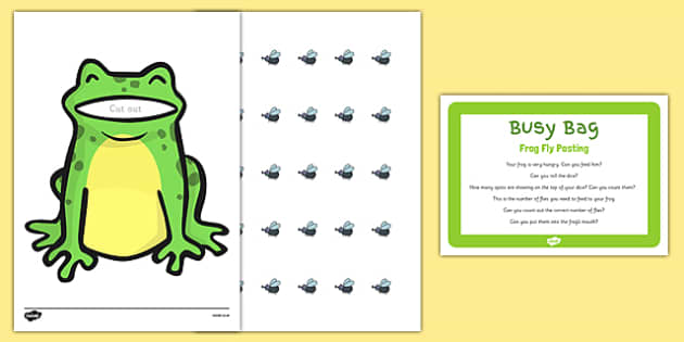 Frog Fly Posting Busy Bag Prompt Card And Resource Pack - EYFS, planning, resources, frog, insect, fly, flying, maths, mathematics, numeracy, parents, early years
