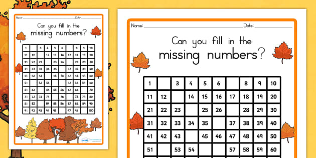 Autumn Pirates Missing Numbers Number Square - seasons, count