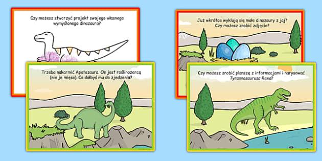Karty z wyzwaniami Dinozaury po polsku - pterodaktyl,