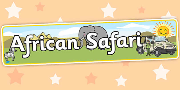 African Safari Display Banner - Africa, Safari, poster, display, banner, vines, A4, display, lion, cheetah, puma, jaguar, rhino, hippo, elephant, giraffe, antelope