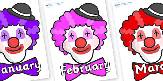 Months of the Year on Clown Faces - Months of the Year, Months poster, Months display, display, poster, frieze, Months, month, January, February, March, April, May, June, July, August, September
