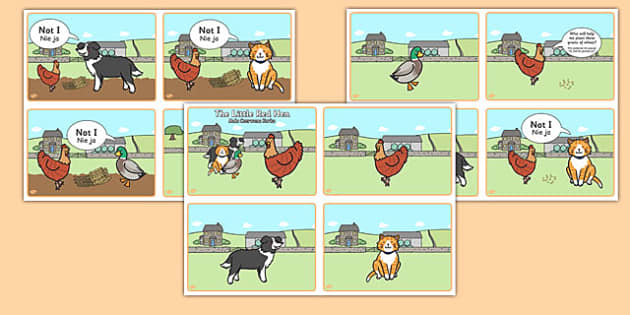 The Little Red Hen Story Sequencing 4 per A4 Speech Bubbles Polish Translation - polish, little red hen