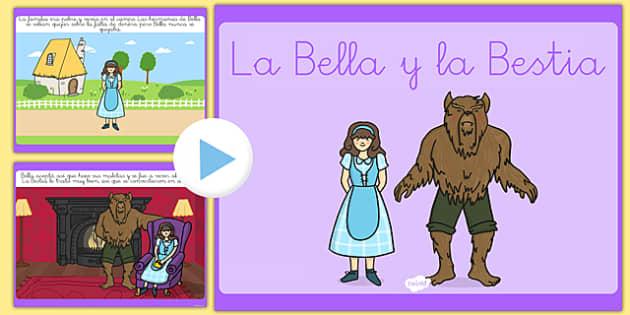 Presentación de la bella y la bestia - cuentos, tradicionales, hada