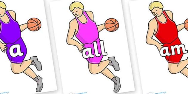 Foundation Stage 2 Keywords on Basketball Player - FS2, CLL, keywords, Communication language and literacy,  Display, Key words, high frequency words, foundation stage literacy, DfES Letters and Sounds, Letters and Sounds, spelling