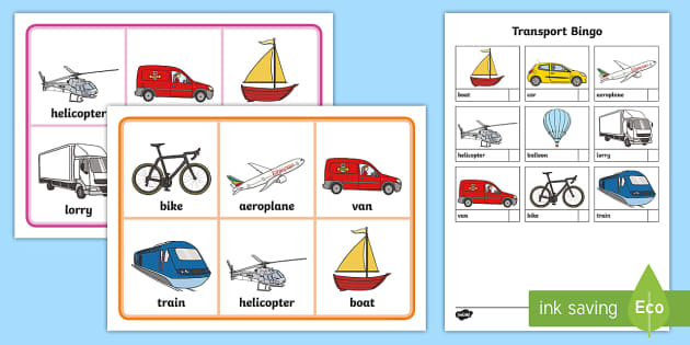 Transport Bingo - Transport, bingo, lotto, activity, game, matching, pair, car, van, lorry, bike, motorbike, plane, aeroplane, tractor, truck, bus