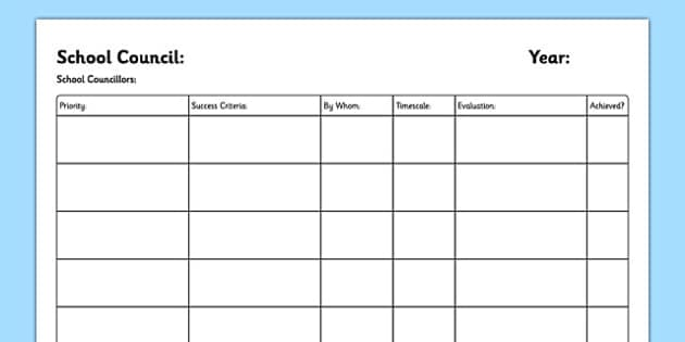 School Council Annual Plan Template - school council, annual plan, template