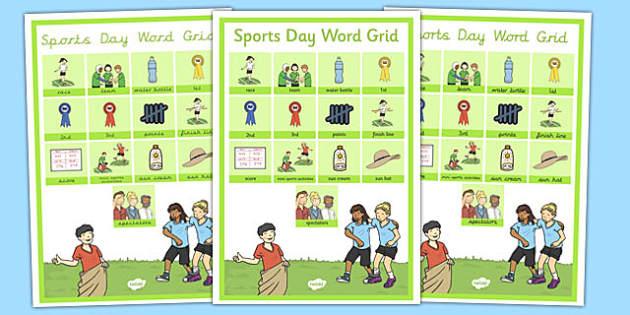 Sports Day Word Grid - sports day, word grid, word, grid, sports