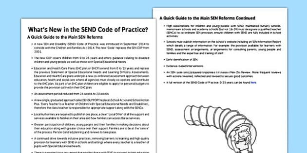 What's New in the SEN Code of Practice - SEN code of practice