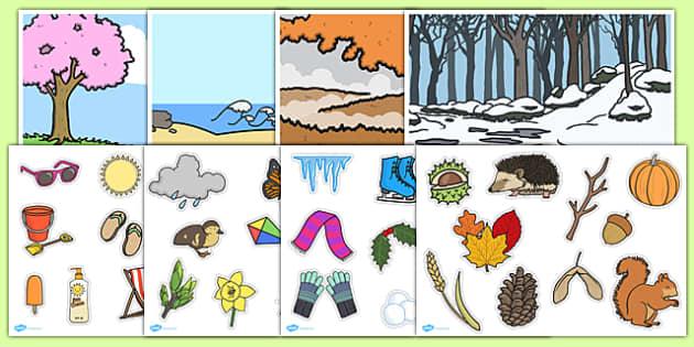 Seasons Matching Game - season, activity, activities, match